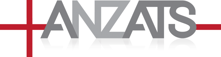 The ANZATS logo with red cross and grey typography