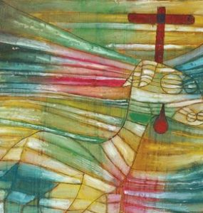 abstract painting of a lamb with a cross