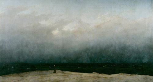 A figure stands on a cliff face, looking out across a stormy sea.