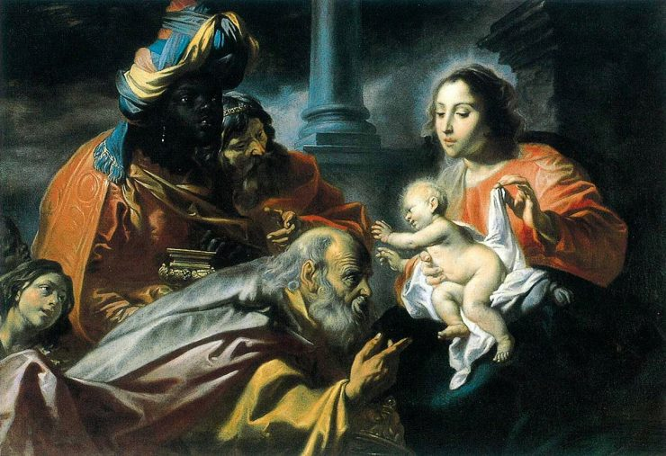 The Magi presents their gifts to baby Jesus, outstretched in Mary's arms.