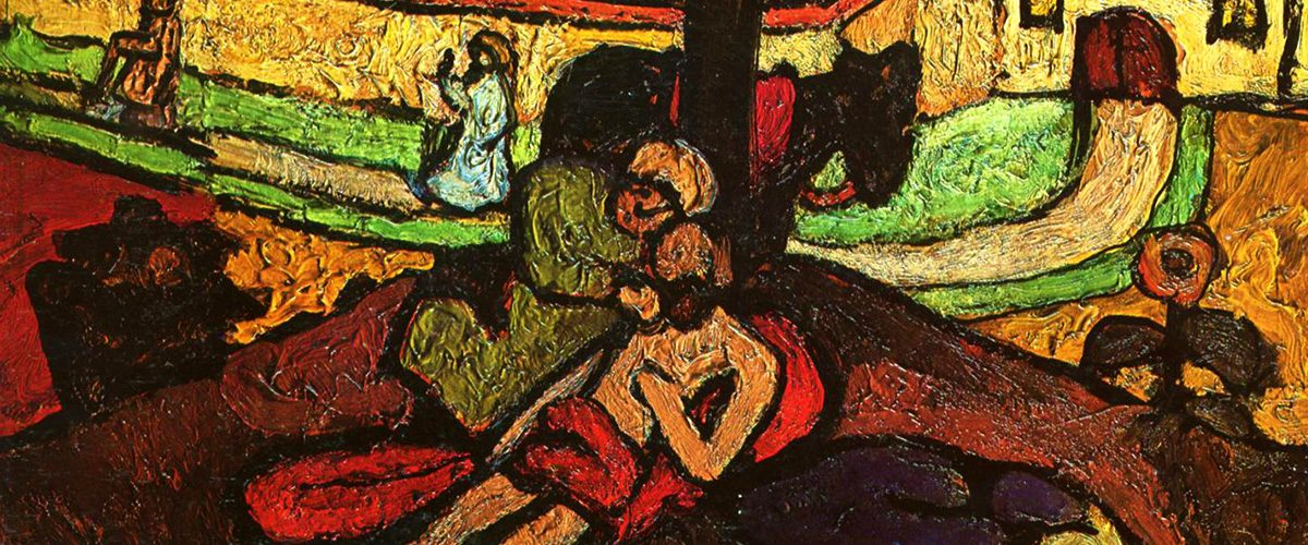Paula Modersohn-Becker's (1907) 'The Good Samaritan', a person in a green tunic, holds the face of a bearded man slumped against a tree, as figures walk past in the background.